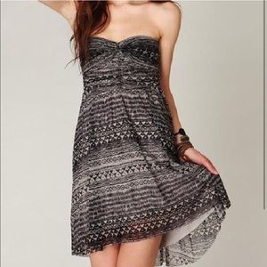 Free People strapless high low tribal dress